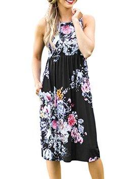Jome Design Womens Summer Floral Print Sleeveless Casual Boho Midi Dress by Jome Design