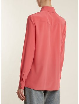 Point Collar Silk Crepe De Chine Blouse by Gucci