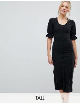 Fashion Union Tall Bodycon Scoop Neck Button Front Midi Dress by Fashion Union Tall