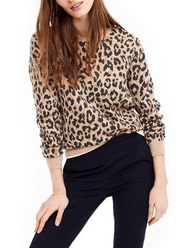 J.Crew Cheetah Print Merino Wool Sweatshirt by J. Crew