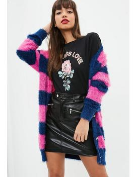 Pink Striped Longline Fluffy Knitted Cardigan by Missguided