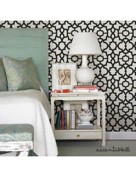 Trellis Black Peel & Stick Fabric Wallpaper Repositionable by Etsy