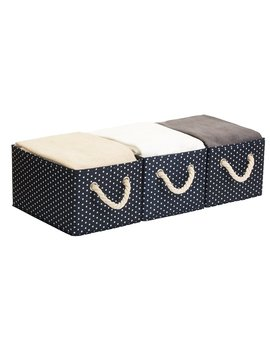 5 Gal.Storage Bin With Strong Cotton Rope Handle By Storage Works, Foldable Storage Basket, Deep Blue, White Dot Style, Large, 3 Pack by Storage Works