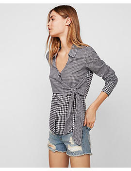 Mixed Gingham Tie Front Surplice Shirt by Express