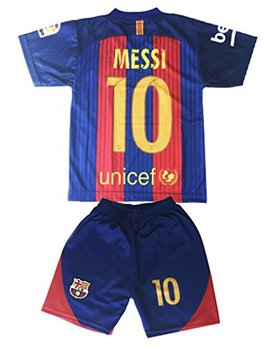 Hussain Tees Youth Fc Barcelona Messi 10 Jersey/Shorts Football Soccer (Drifit) by Hussain Tees