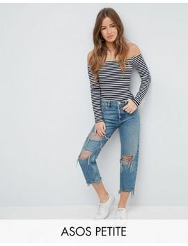 Asos Petite Recycled Florence Authentic Straight Leg Jeans In Chayne Green Cast With Rips by Asos Petite