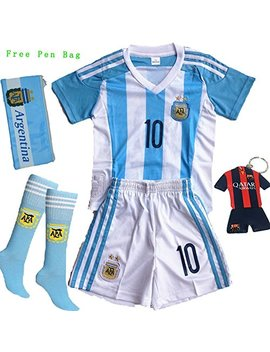 2016/2017 Argentina Lionel Messi #10 Home Soccer Kids Jersey & Short Set Youth Sizes by Games Dur