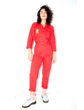 Embroidered Artist Red Jumpsuit by Etsy