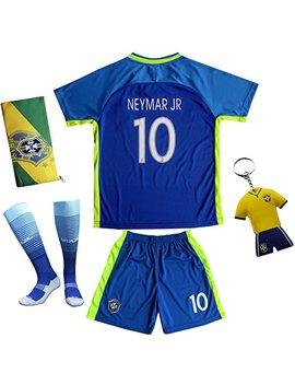 Brazil Neymar Jr #10 Away Blue Football Soccer Kids Jersey Short Socks Set Youth Sizes by Kid Box