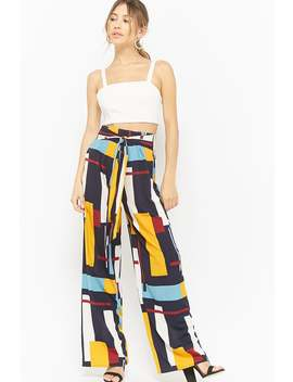Multicolored Geo Print Wide Leg Pants by Forever 21