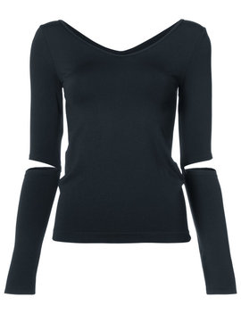 V Neck Cut Out Sleeve Top by Helmut Lang