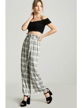 Plaid Paperbag Pants by F21 Contemporary