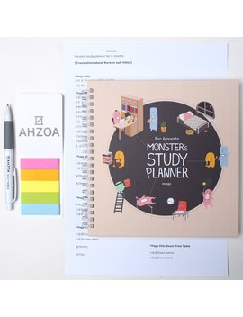 Monster's Study Planner For 6 Months Including Ahzoa Pencil And Ahzoa 5 Colors Post It Flags And English Translation Paper About Korean Subtitles (Beige) by Indigo / Ahzoa