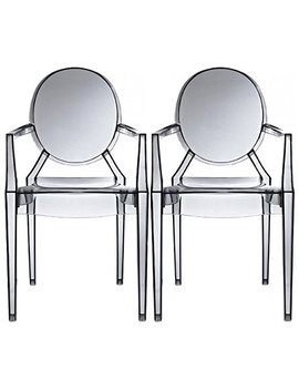 2xhome – Set Of Two (2)   White   Modern Ghost Chair Armchair With Arm Polycarbonate Plastic White … by 2xhome
