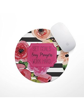 Say Prayers Floral Mouse Pad   Neoprene Inspirational Quote Mousepad, Office Space Decor, Home Office, Computer Accessories by The Navy Knot