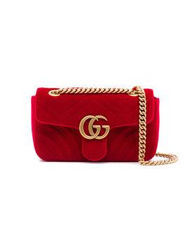 Red Gg Marmont Mini Velvet Shoulder Bag by Gucci