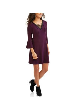 "No Comment Juniors' Yummy Lace Up 3/4"" Bell Sleeve Skater Dress by No Comment"