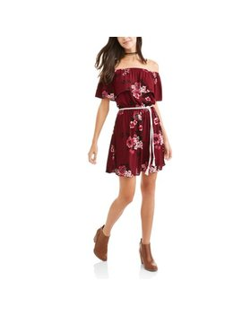 No Boundaries Juniors' Floral Printed Off The Shoulder Belted Dress by No Boundaries