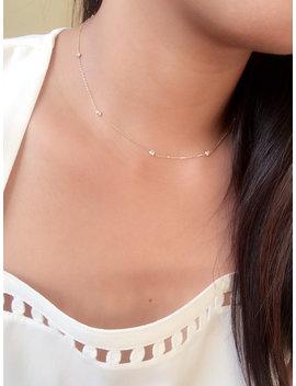 Dainty Diamonds By The Yard Choker Necklace / Cz Choker Necklace / Minimalist Choker 14k Gold / Station Necklace / Diamond Station Necklace by Etsy
