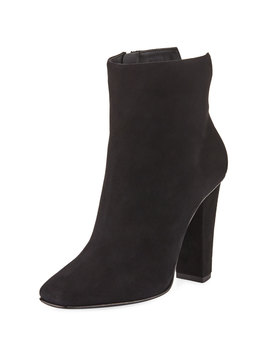 Square Toe Suede Zip Bootie, Black by Giuseppe Zanotti