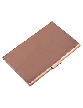 Max Gear Business Card Holder, Professional Business Card Case Slim Stainless Steel Card Holder Personality Metal Name Card Holder For Men & Women Bronze Gold 02 by Max Gear