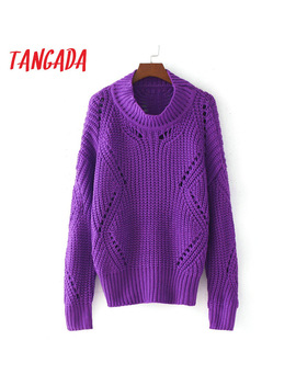 Tangada Women Purple Pullover Sweaters Batwing Sleeve Turtleneck Hollow Out Winter Autumn 2017 Fashion Loose Knitting Tops Le03 by Tangada Official Store