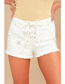 Rising Tied White Distressed Denim Lace Up Shorts by Lulu's