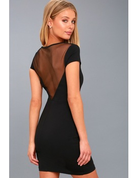 Bless This Mesh Black Mesh Bodycon Dress by Lulus