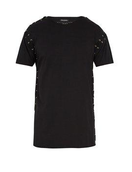 Eyelet Embellished Cotton Jersey T Shirt by Balmain