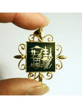 24k Damascene Pendant Gold 24ct Black Vintage Amita Japan Signed Oriental Ornate Frame by Etsy