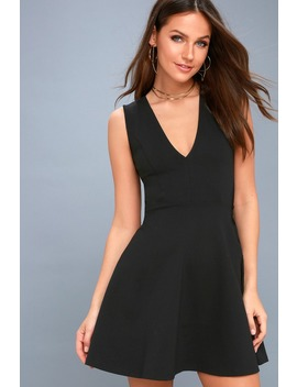As Swoon As Possible Black Sleeveless Skater Dress by Lulus