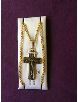 damascene-gold-cross--pendant-on-gold-plated-chain-made-in-spain by ebay-seller