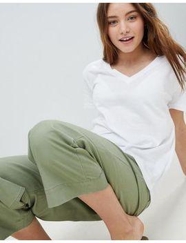 Bershka Organic Cotton V Neck T Shirt In White by Bershka