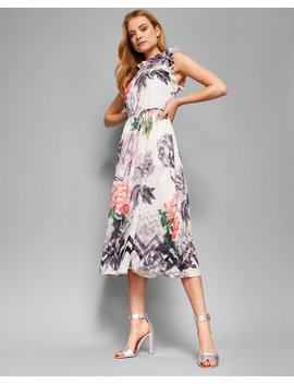 Palace Gardens Ruffle Detail Midi Dress by Ted Baker
