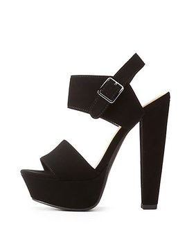 Fuax Suede Two Piece Platform Sandals by Charlotte Russe