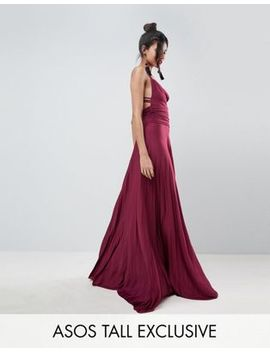 Asos Tall Pleated Maxi Dress With Cowl Neck & Strappy Detail by Asos Design