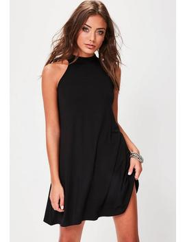 Petite Black High Neck Swing Dress by Missguided