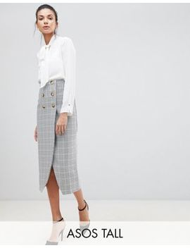 Asos Design Tall Double Breasted Pencil Skirt In Check by Asos Design