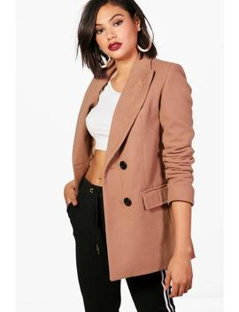 Honor Double Breasted Short Wool Look Coat by Boohoo