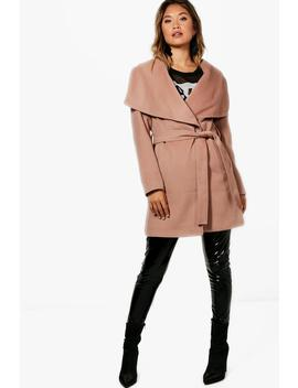 Eloise Belted Waterfall Coat by Boohoo