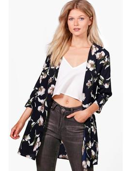 Petite Caitlin Floral Woven Duster Jacket by Boohoo