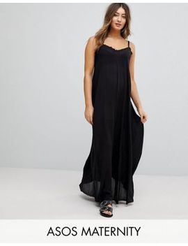 Asos Maternity Scoop Back Maxi Dress In Crinkle by Asos Maternity