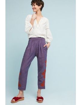 Embroidered Linen Trousers by By Anthropologie