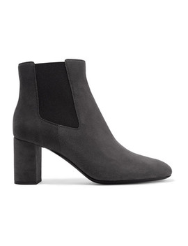 Loulou Suede Ankle Boots by Saint Laurent