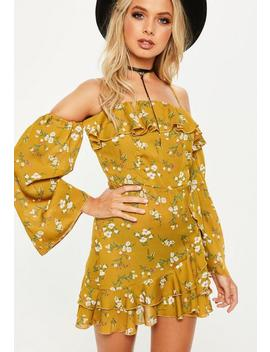 Yellow Bardot Printed Wrap Front Tea Dress by Missguided