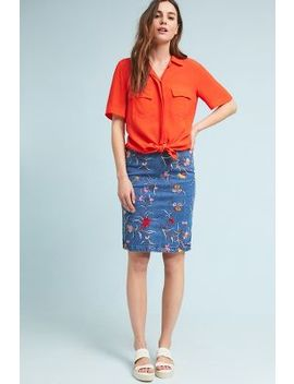 Embroidered Denim Pencil Skirt by Maeve