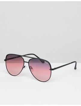 Quay Australia X Desi Sahara Aviator Sunglasses In Matte Black by Quay Eyeware