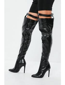 Fanny Lyckman X Missguided Black Harness Over The Knee Boots by Missguided