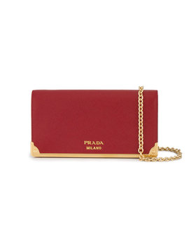 Red Logo Wallet On Chain Bag by Prada