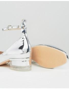 Серебристые туфли на среднем каблуке с ремешком на щиколотке Lost Ink by Asos
